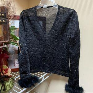Rampage Long Sleeve Black Sheer Shimmery Top